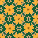 Flowers and circles drawn by hand. Floral seamless pattern. Vector illustration. Green, brown, orange color Stock Photo
