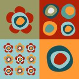 Flowers and circles pattern Stock Photo