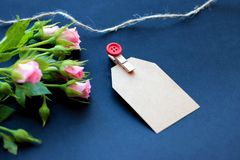 Flowers, clothespins, paper for writing on a dark background stock images