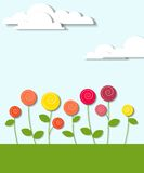 Flowers and clouds. Creative applique Stock Image