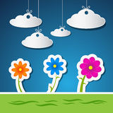 Flowers and Clouds Made From Paper With Blue Sky. Vector Flowers and Clouds Made From Paper With Blue Sky and Green Grass Stock Photography