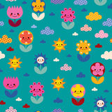 Flowers and clouds nature pattern Stock Photography