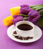Flowers and coffee Royalty Free Stock Photography