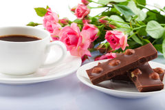 Free Flowers, Coffee And Sweets. Royalty Free Stock Photography - 29045257