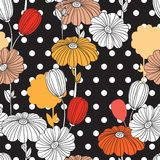 Retro pattern with doodle elements and silhouettes. Flowers. Collage. Seamless pattern. Decorative image for print and fabric royalty free illustration