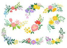 Flowers collection on white background. Spring concept. Flowers collection on white background. Spring and floral concept. Vector flat illustration royalty free illustration