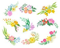 Flowers collection on white background. Spring and floral concept. Vector flat illustration stock illustration