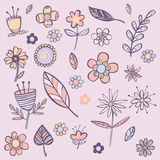 Flowers color background. Background with different flowers in pink color Royalty Free Illustration