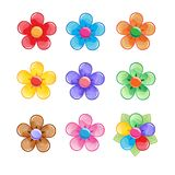Flowers Color icon set. Fantasy Blossom sweet world. Vector assets for web or game design. Decorative GUI elements, Cartoon colorful glossy button set,  on Stock Photography