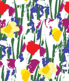 Flowers color seamless pattern wallpaper on white. Stock Image