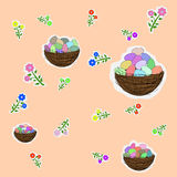 Flowers and colored Easter eggs Royalty Free Stock Photography