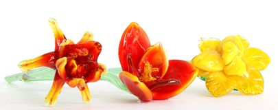 Flowers of colored glass Stock Photos