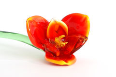 Flowers of colored glass (souvenir) closeup isolat Stock Photos
