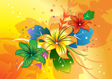 Flowers in colorful background. 3 flowers and leaf done in illustrator Stock Image
