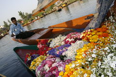 flowers, colorful, boat, beauty, river Stock Photo