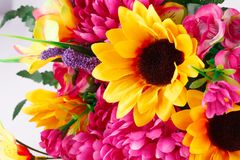 Flowers. Colorful fabric flowers closeup picture Stock Photos