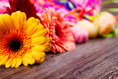 Flowers and colorful streamer. Stock Images