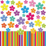 Flowers on colorful stripe background Stock Images