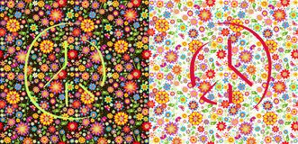 Flowers wallpapers with peace symbol. Flowers colorful wallpapers variation with peace symbol Stock Illustration