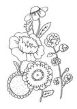 Flowers Coloring Page. Line art children illustration suitable as a coloring sheet Royalty Free Stock Photo