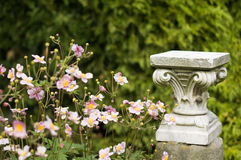 Flowers and column capital. Flowers near old sandstone column Royalty Free Stock Image