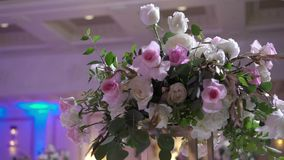 Flowers composition at event. Decoration stock video