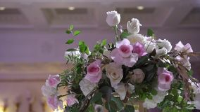 Flowers composition at event. Decoration stock footage