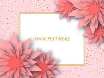 Flowers composition. Greeting card or wedding invitation card with paper decorative flowers. Vector floral background Royalty Free Stock Photography