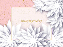 Flowers composition. Greeting card or wedding invitation card with paper decorative flowers. Vector floral background Stock Photo