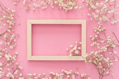 Flowers composition romantic. White gypsophila flowers, photo frame on pastel pink background. Valentine`s Day, Easter, Birthday, stock photo