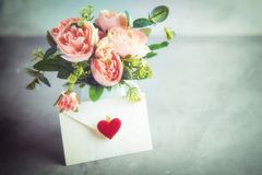 Flowers composition for Valentine`s, Mother`s or Women`s Day. Still-life. Romantic soft gentle artistic image, free space for t