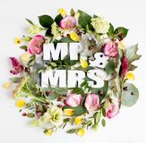 Flowers composition with word MR&MRS