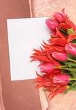 Flowers with congratulatory blank Stock Photo