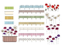 Flowers in containers growing at window sills and. Balcony. Fence is seamless pattern brush Stock Images