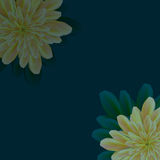 Flowers in the corners of the dark background. Vector image of flowers in the corners of the dark background of a yellow hue Royalty Free Stock Image