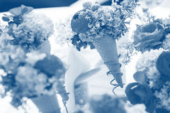 Flowers in cornets. Many cornets with flowers, wedding table arrangement Stock Photography