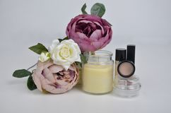 flowers and cosmetics stock image