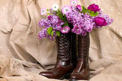 Flowers and Cowgirl Boots Stock Photography