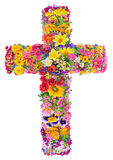 Flowers of a cross of Jesus. In my heart concept. Collage from summer plants. Isolated. You can find all the full sized images in my portfolio Stock Photos