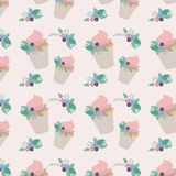 Flowers and cupcakes birthday party. Vector illustration design Stock Photo