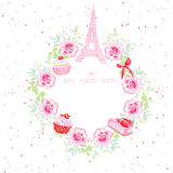 Flowers, cupcakes, Eiffel tower and bow vector design frame Royalty Free Stock Photo
