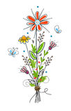 Flowers. Cute flower bouquet and butterflies. Eps10 stock illustration