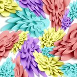 Flowers 3d background with on white background. Templates for greeting cards, placards, banners, flyers. Paper art. Suitable for social networks and photo stock illustration