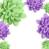 Flowers 3d background with on white background. Templates for greeting cards, placards, banners, flyers. Paper art. Suitable for social networks and photo royalty free illustration