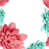 Flowers 3d background with on white background. Templates for greeting cards, placards, banners, flyers. Paper art. Suitable for social networks and photo vector illustration