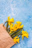 Flowers of daffodils are yellow on a blue marble background in a crafting paper bag, there is an empty space for text. Flat lay. stock images