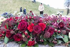 Flowers at Danish National Monument of Remembrance after the fun. Eral of His Royal Highness Prince Henrik, Copenhagen, February 23, 2018 Stock Image