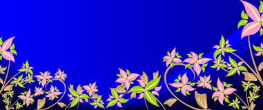 Flowers on dark blue. Royalty Free Stock Image