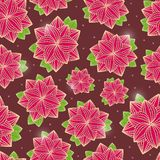 Flowers on Dark Brown Seamless Background Stock Images