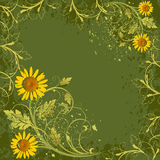 Flowers decor on grunge background Stock Photo
